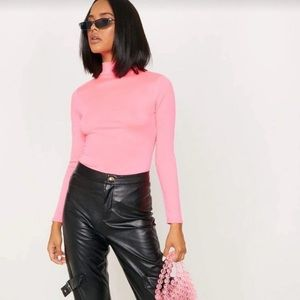 Prettylittlething Neon pink long sleeve body suit